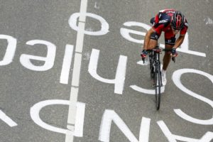 Philippe Gilbert attacks on the Cauberg to win his third Amstel Gold Race. Photo: AFP