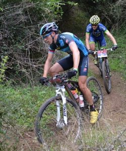 Fairview-TIB's Adriaan Louw leads teammate Andrew Hill on the Hayterdale single-track as the two powered towards overall victory in the PwC Great Zuurberg Trek. The three-stage mountain bike race finished at the Zuurberg Mountain Village near Addo on the outskirts of Port Elizabeth on Sunday. Photo: Full Stop Communications