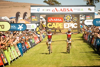 Matthys Beukes (L) and Philip Buys (R) during the final stage (stage 7) of the 2015 Absa Cape Epic Mountain Bike stage race from the Cape Peninsula University of Technology in Wellington to Meerendal Wine Estate in Durbanville, South Africa on the 22 March 2015 Photo by Sam Clark/Cape Epic/SPORTZPICS PLEASE ENSURE THE APPROPRIATE CREDIT IS GIVEN TO THE PHOTOGRAPHER AND SPORTZPICS ALONG WITH THE ABSA CAPE EPIC