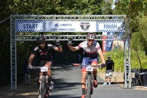 Altech Autopage Pro Cycling's Jarryd Hayley and Chris Wolhuter wins stage one of the Liberty Cape Winelands MTB Encounter. Photo: Full Stop Communications