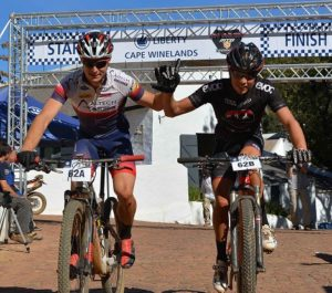 Altech Autopage's Chris Wolhuter (left) and Jarryd Haley at the inaugural Liberty Cape Winelands MTB Encounter. Photo: Full Stop Communications
