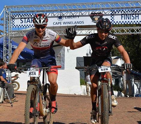 Altech Autopage's Chris Wolhuter (left) and Jarryd Haley took all three stage wins en route to overall victory in the inaugural Liberty Cape Winelands MTB Encounter, which finished in Wellington on Sunday. Photo: Full Stop Communications