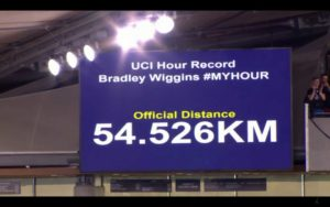 Sir Bradley Wiggins set a new UCI Hour Record when he completed 54.526km in London today. Photo: UCI