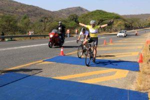 Bestmed Jock Tour winner Willie Smit of Team EuropcarSA en route to victory in Nelspruit on Sunday. Photo: Rika Joubert/CycleNation