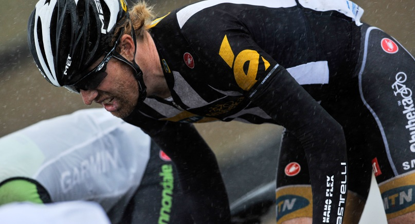 At the 50km mark MTN-Qhubeka's Serge Pauwels and Tyler Farrar formed part of the foremost of four groups on the road on day two of the 2015 Tour de France. Photo: Stihl Photography