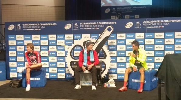 Keagan Girdlestone (far right) sat in the bronze medal hot seat unitl the  last 2015 UCI Road World Championships