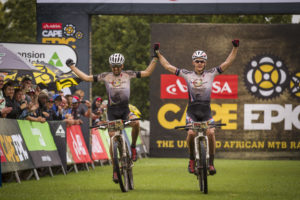 Christoph Sauser and Jaroslav Kulhavy first to cross the finish line at the 2015 Cape Epic. Photo: Sportzpics/Nick Muzik