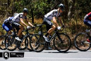 Riders at the finale of the Cadel Evans Great Ocean Road Race in Geelong yesterday. Photo: supplied