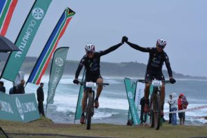 Gawie Combrinck (front) and Nico Bell of NAD Pro win the 2016 Old Mutual joBerg2c. Photo: Full Stop Communications