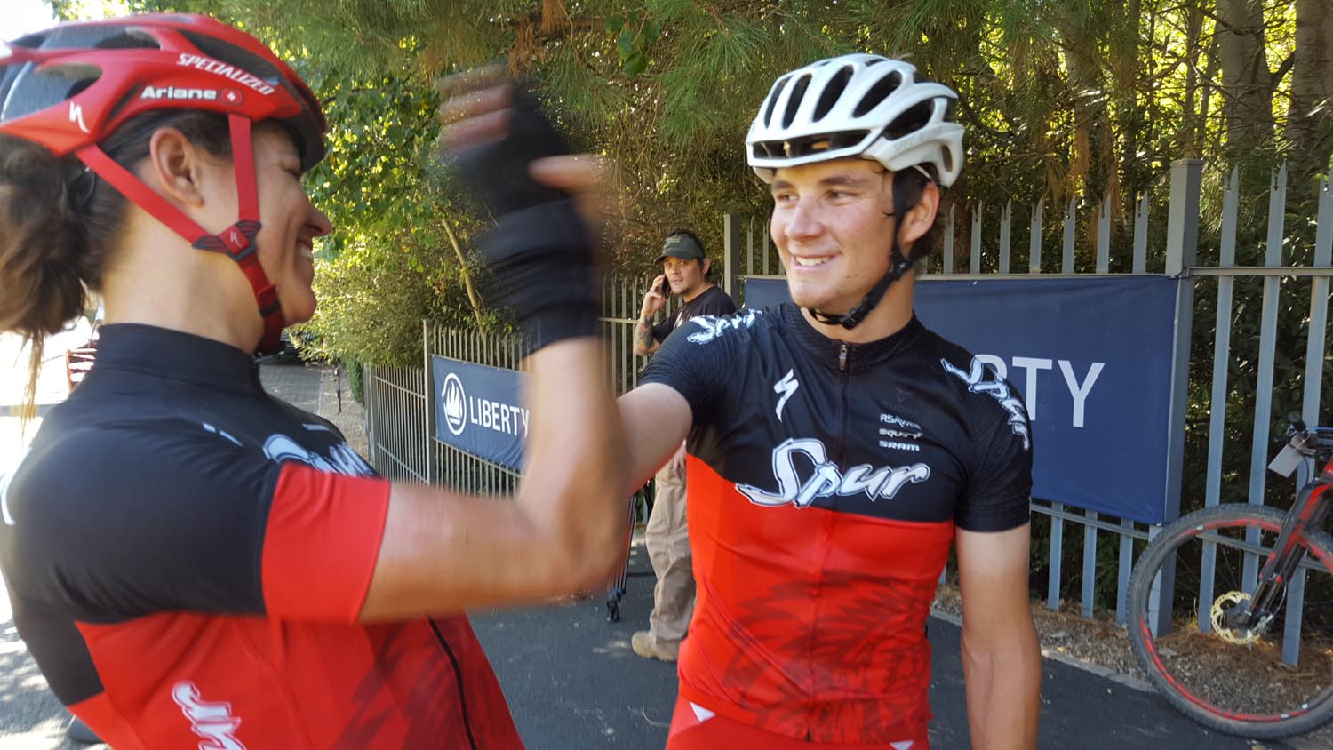 Team Spur's Ariane Kleinhans (left) and Stephan Senekal congratulate each other after winning the mixed category on stage one of the Liberty Winelands MTB Encounter. Photo: Full Stop Communications