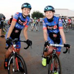 Team Clover's Yzette Oelofse (left) is a South African road cyslits.