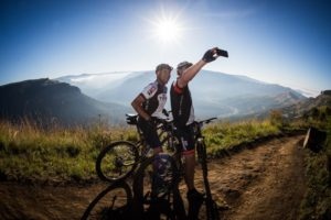Sani2c Adventure's riders admiring the scenery during the second stage of the race. Photo: Darren Goddard
