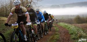 Scott LCB rider Gert Heyns (second from the left) makes his way up the ranks to win the Trailseeker Grabouw race. Photo: ZC Marketing Consulting