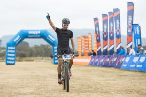 Brendon Davids won the 60km Karkloof Classic Marathon in KwaZulu-Natal today. Photo: Anthony Grote