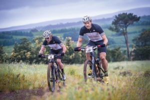 Michael Creedon and Andrew Davies in action during stage two of the 2015 FNB W2W MTB Adventure event. Photo: Tobias Ginsberg