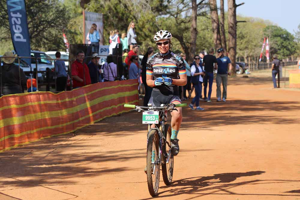 Sanet Coetzee of Team Bestmed-ASG takes the 60km feature race at the Bestmed Sondela MTB Classic near Bela-Bela on Sunday.