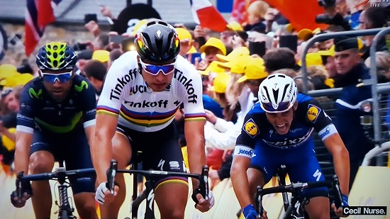 Peter Sagan wins stage two of the Tour de France on Sunday. Photo: SuperSport