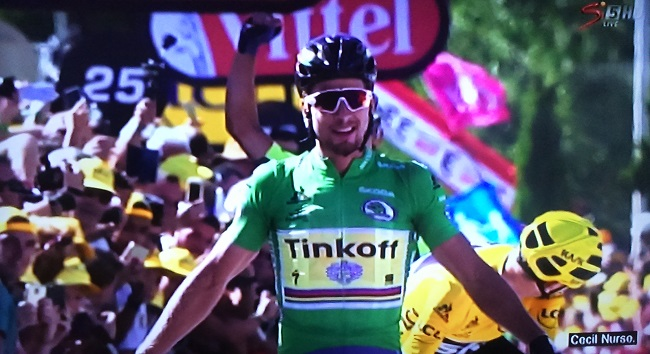 World champion Peter Sagan takes another Tour de France stage win in Montpellier today. Photo: SuperSport