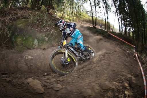 Defending champion Stefan Garlicki claim the elite men's national title at the SA National Mountain Bike downhill championships in Pietermaritzburg on Sunday. Photo: Andrew Mc Fadden