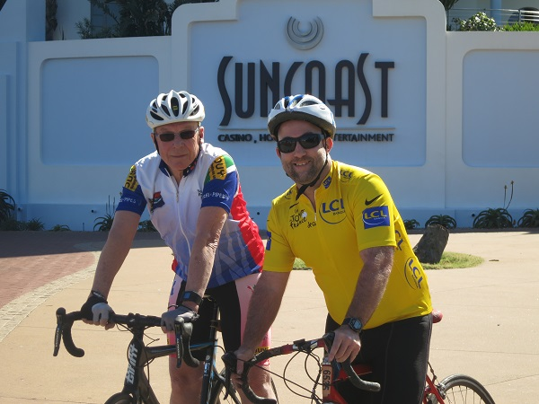 Henk Duys (30 years) and Glen Connell (25 years) are two of the cyclists with their green numbers being recognised by the Amashova race organisers in the build-up to the 30th anniversary of the race. Photo: Supplied