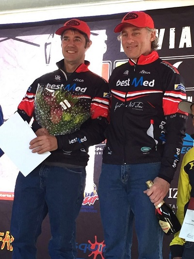 Team Bestmed-ASG's Rory Mapstone (left) and Christo van den Heever finished first in the masters' category and seventh overall at the Trans Baviaans. Photo: Jacques Marais