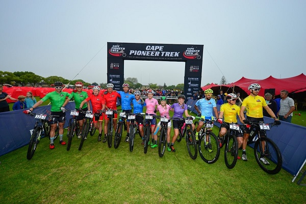 The category leaders pose for the media prior to the start of stage four of the Cape Pioneer Trek on Thursday. Photo: www.zcmc.co.za