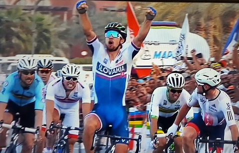 Peter Sagan celebrating his 2016 UCI Road World Championships' win while crossing the finish line in Doha, Qatar today. Photo: SuperSport