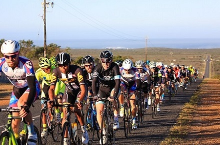 Riders tackle the long (71km) route at last year's West Coast Express. The front bunch averaged just under 41km/hr. Photo: Double ST