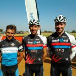 The top three men in the 60km race at the 2017 Sondela MTB Classic.