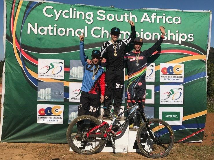 SA National MTB Cup Series DHI men's podium