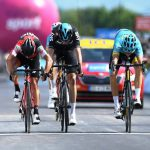 Photo finish for Jakob Fuglsang, Richie Porte and Christopher Froome in stage 6 of the Criterium du Dauphine today,