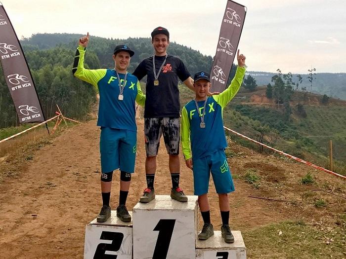 Christopher Philogene, Sam Bull and Jonathan Philogene at KZN MTB Provincial Enduro Champs.