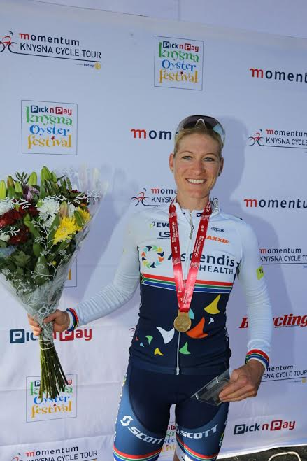 Robyn De Groot won the women's race at Knysna Cycle Tour.