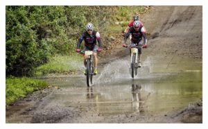 Bestmed Mitas Men with Yolande de Villiers on route during the first race of the Trans Baviaans.