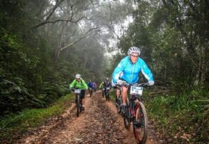 An image of some of the riders during stage one of one of the Storms River Traverse.
