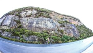 A scenic picture of a rider in action on stage two of the Storms River Traverse.