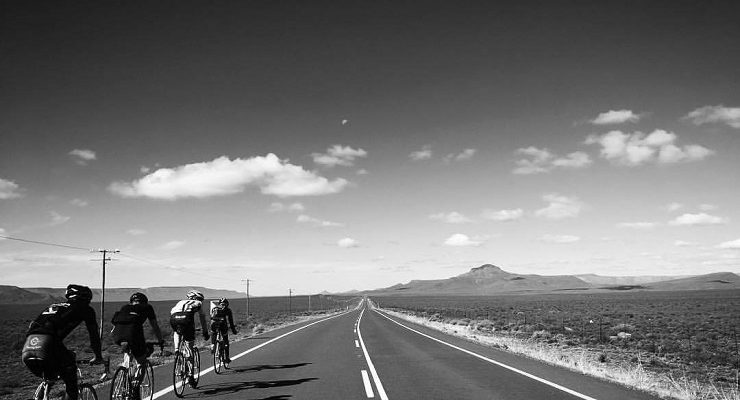 A single file of riders on their way to Calvinia during stage four of Tour of Ara.