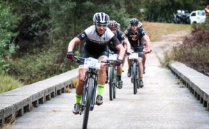 Yolande de Villiers leads a group of riders during stage one of the Storms River Traverse.