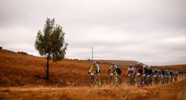An action photo of the men's marathon race on the first day of the sixth leg of the National MTB Series in Dullstroom, Mpumalanga, yesterday.