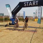 Mountain bikers crossing the line at the Race for Victory MTB Challenge in Johannesburg today.