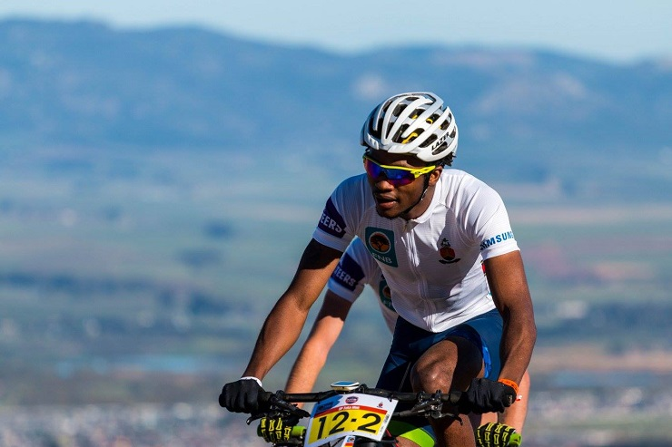William Mokgopo in action on the trails on day one of the Varsity MTB Challenge just outside of Paarl.