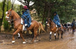 Horses lead out riders at Lesotho Sky