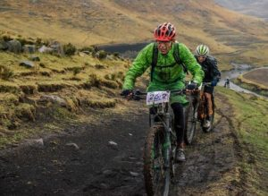 Mud spattered riders at Lesotho Sky