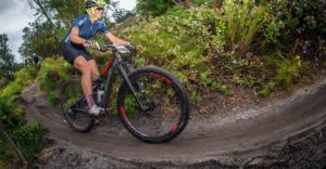 Cherise Willeit takes on the muddy trails during day one of the Wines2Whales Race.