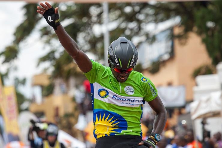 Joseph Areruya celebrates in Rwanda