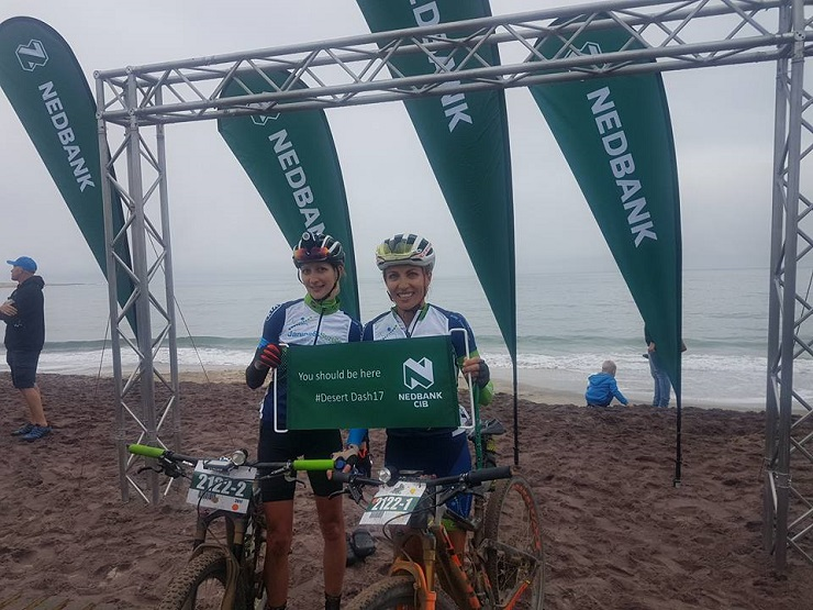 Carmen Buchacher (left) and Michelle Vorster (right) after the Desert Dash. Photo: Supplied