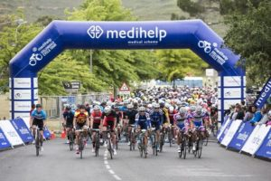Cyclists in action soon after the start of this year's Stellenbosch Cycle Tour.