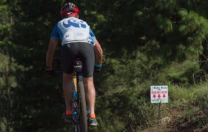 A rider in action on stage one of the 2018 Drak Descent.
