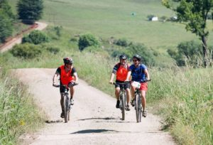An image of some of the riders having a bit of 'sports' during the second stage of the 2018 Drak Descent.