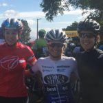 Anriette Schoeman (middle) posing alongside Allessandra Keller (left) and third finisher Lucy James (right) after the 99er Cycle Tour on Saturday. Photo: facebook.com/99erCycleTour